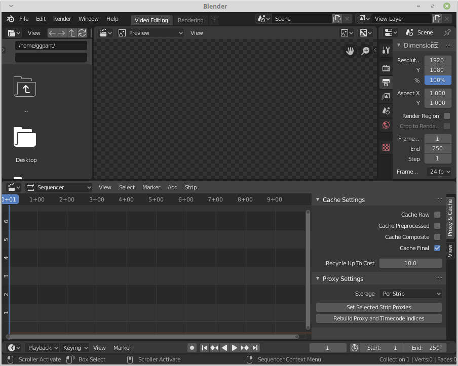 Blender 2.8  video editing template