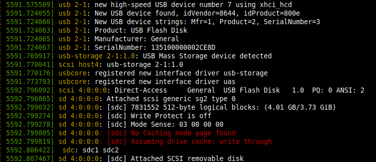 Linux dmesg command output after connecting usb device